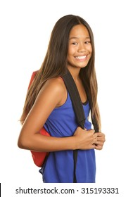 Cute Filipino Girl Student on White Background making a happy smile.  She is holding a backpack.