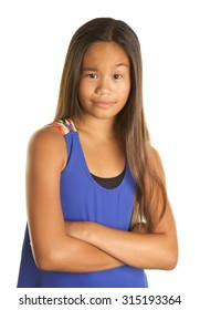 Cute Filipino Girl Student on White Background making a funny expression that shows disgust