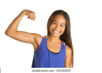 Cute Filipino Girl Student on White Background making a muscle with a big smile
