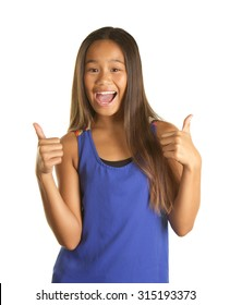 Cute Filipino Girl Student on White Background with a happy smile giving two thumbs up