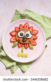 Cute Flower Pancake with berries for kids breakfast