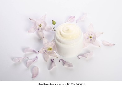 Cute flowers and petal and a jar of natural body cream isolated on white background