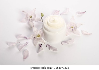 Cute flowers and petals and a jar of natural body cream isolated on white background