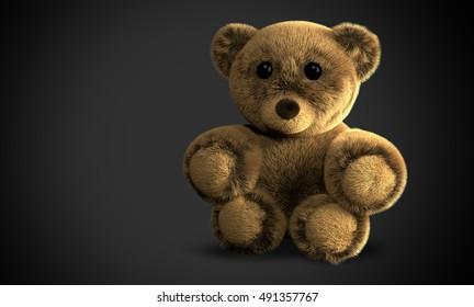 cute fluffy stuffed bear 3d illustration