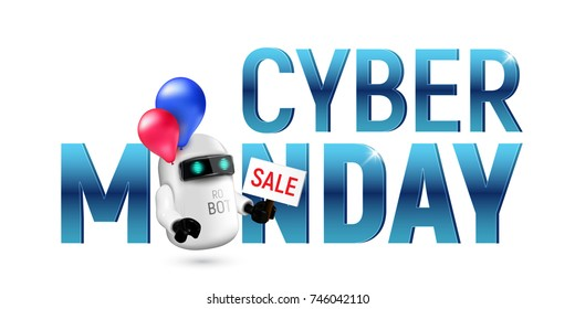 Cute flying robot with red and blue balloons holding a sale sign in hand. Illustration to cyber monday isolated on white background. Perfect to use for advertising or design your site