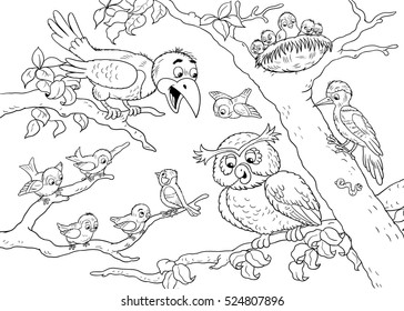 Cute Forest Animals Birds Crow Owl Woodpecker Sparrows Illustration