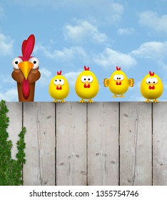 cute free range chicken mother with her chick kids, sitting on old wooden fence, isolated on white background