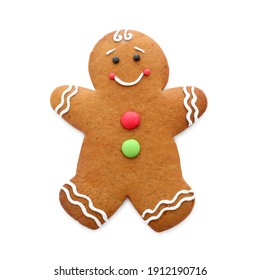Cute fresh gingerbread man isolated on white
