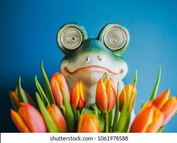 cute frog holding a bunch of flowers and looks like the hidden dream prince