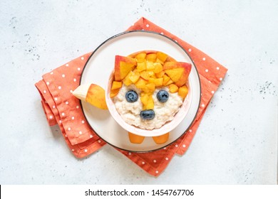 Cute Funny Fox Face Breakfast For Kids Oatmeal Porridge
