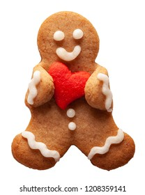 Cute funny gingerbread man with heart decoration for valentine day