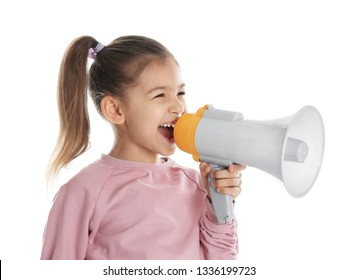 Cute funny girl with megaphone on white background