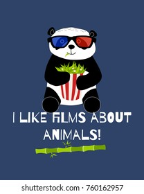 Cute and funny panda with 3d glasses ans bamboo popcorn is watching cinema card. Doodle hand drawn style. Raster illustration.
