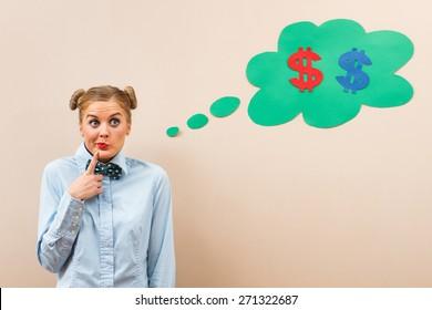 Cute geek girl is thinking about money.Hmmm money...