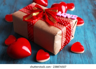Cute Gift Valentines Day On Wooden Stock Photo Edit Now 239940022