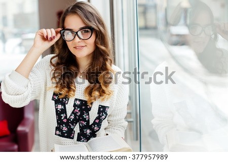 Cute Girl Brown Curly Hair Wearing Stock Photo Edit Now 377957989