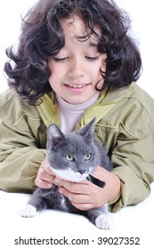 Cute girl and cat