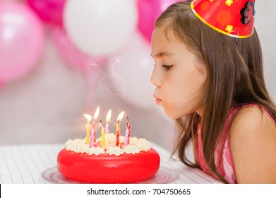 Cute girl celebrating his birthday and blowing candles on cake.