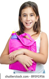 Cute  girl with a colorful lunch bag isolated on a white background