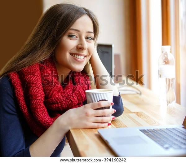 Cute Girl Drinking Coffee Cafe Stock Photo (Edit Now) 394160242