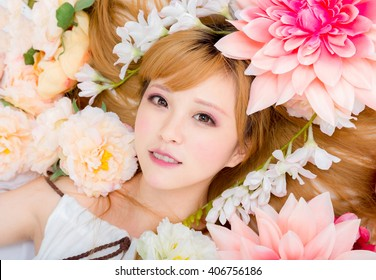 cute Girl in flower smile japanese style