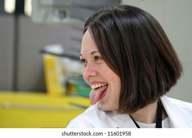 Cute Girl Having Fun In The Work Place