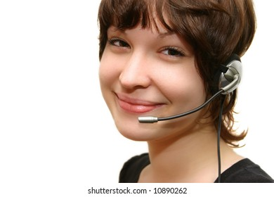 cute girl with headset