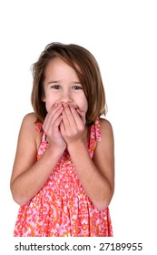 cute girl holding hands over mouth in surprise