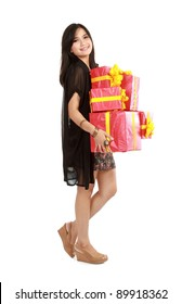 Cute girl holding the red box present over white background
