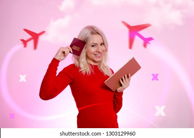 Cute girl holding tablet and passport, travel concept and booking flights