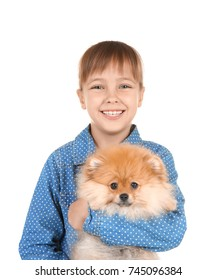 Cute girl with little dog on white background