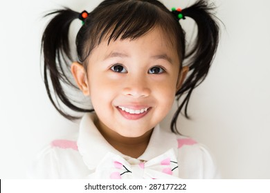 Cute girl looking up