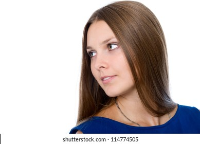 Cute girl looking at copy space or your text.