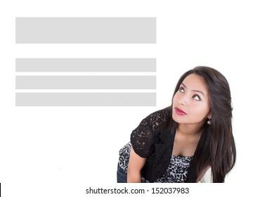 Cute girl looking at copy space of headers