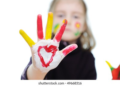 Cute girl with messy hands