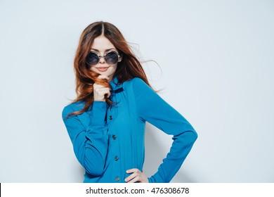 cute girl model in black round glasses