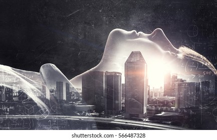 Cute girl and modern city . Mixed media