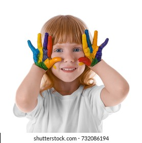 Cute girl with paint on face and hands against white background