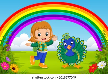 cute girl and peacock at park with rainbow scene