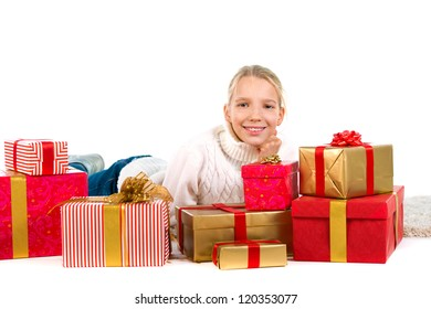 Cute girl with a lot of presents over a white background