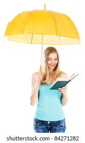 Cute girl reading a book under umbrella against white background