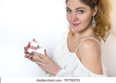 cute girl receive jewelry present