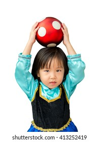 cute girl with the red ball