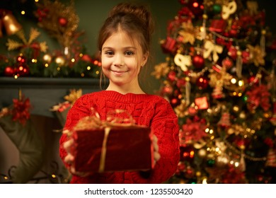 Cute girl rejoices gift, smiling and waiting for the holiday. Beautiful Christmas tree in the New Year's atmosphere. Burning fireplace. Waiting for Christmas, New Year and Santa Claus. Cozy home.