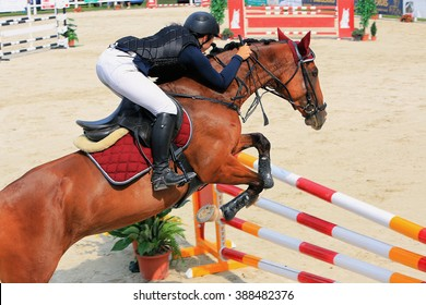 Cute girl riding jumps over a hurdle on horse races