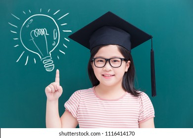 cute girl show something with lightbulb on green chalkboard