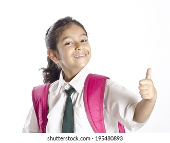 A cute girl showing thumbsup