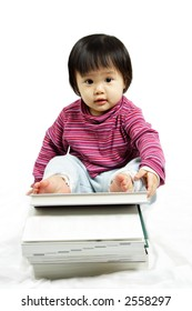 A cute girl with a stack of books, can be used for children education concept