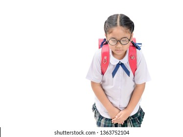 Cute girl student making a bow isolated on white background, Japanese Culture