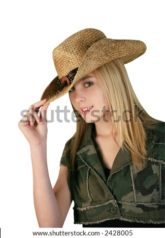 Cute Girl Tipping Cowboy Hat On Stock Photo (Edit Now) 2428005 ... 8e8734a0d33